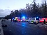 Dopravní nehoda na D4 u obce Kytín - foto HZS Středočeského kraje ()