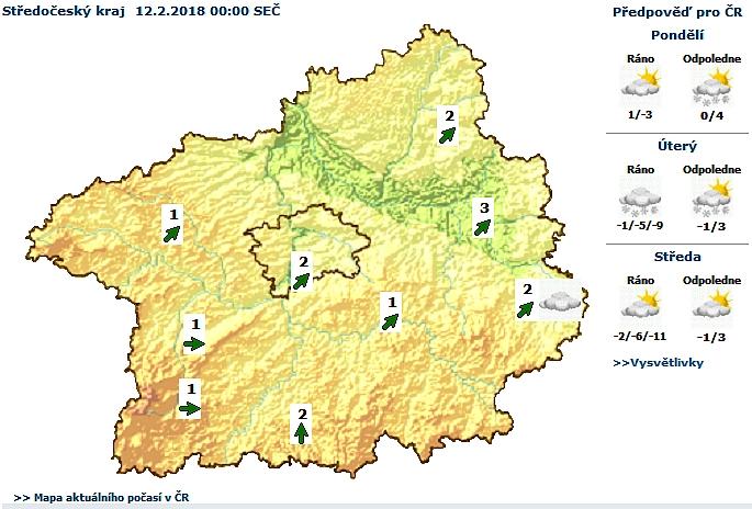 Předpověď počasí pro Středočeský kraj na Úterý …