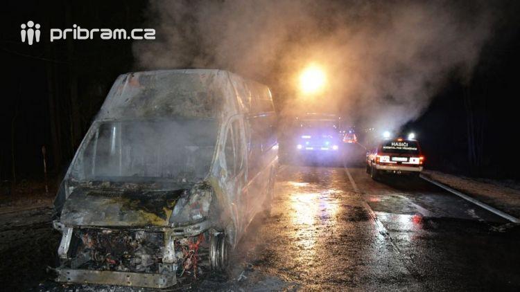 Právě teď: U Teslínů hoří dodávka, zasahuje několik jednotek hasičů