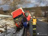 Aktuálně: Silný vítr a sníh komplikuje dopravu, u Hluboše skončil nákladní vůz v příkopu