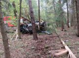 Vůz přerazil několik stromů, řidič skončil jen s lehkým zraněním
