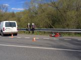 Srážka dodávky a motocyklu u Rožmitálu si vyžádala zranění