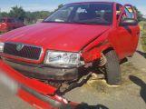 Šoféra píchla včela do krku, přerazil betonový sloup a skončil v plotě