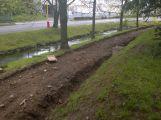 Osamělý hrdina: Včera odpoledne na cyklostezce pracoval jediný dělník ()