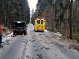 Právě teď: Řidič nezvládl zatáčku a po smyku narazil  přímo do stromu,  pasažérka je zraněná (5)