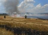 Boj s ohnivým živlem krok za krokem. Hasiči zdolávají požár pole u Horčápska. ()