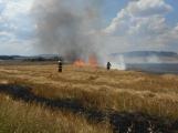 Boj s ohnivým živlem krok za krokem. Hasiči zdolávají požár pole u Horčápska. (19)