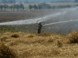Boj s ohnivým živlem krok za krokem. Hasiči zdolávají požár pole u Horčápska. (26)