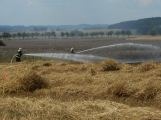 Boj s ohnivým živlem krok za krokem. Hasiči zdolávají požár pole u Horčápska. (27)