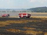 Boj s ohnivým živlem krok za krokem. Hasiči zdolávají požár pole u Horčápska. (1)