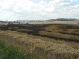 Boj s ohnivým živlem krok za krokem. Hasiči zdolávají požár pole u Horčápska. (4)