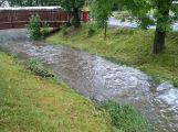 Příbramsko přes noc zasáhly vytrvalé deště, Litavka v Čenkově hlásí první stupeň (5)
