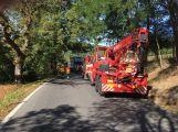Za obcí Hluboš se převrátil návěs s prasaty, silnice je uzavřena (2)