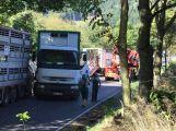 Za obcí Hluboš se převrátil návěs s prasaty, silnice je uzavřena (3)