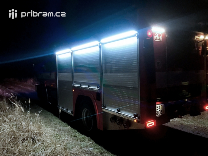 Požár hrabanky v lesíku u silnice č.18 od obce …