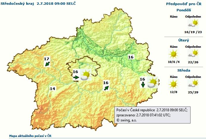 Podle čerstvé předpovědi meteorologů z ČHMÚ …