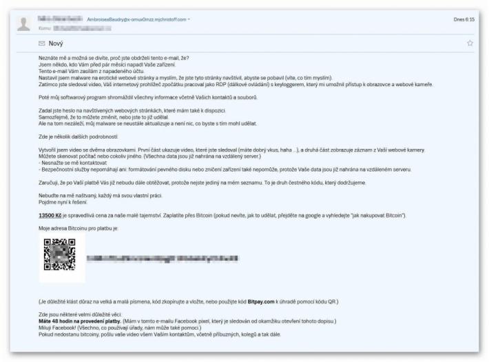 Rozesílatel podvodného/výhrůžného mailu …