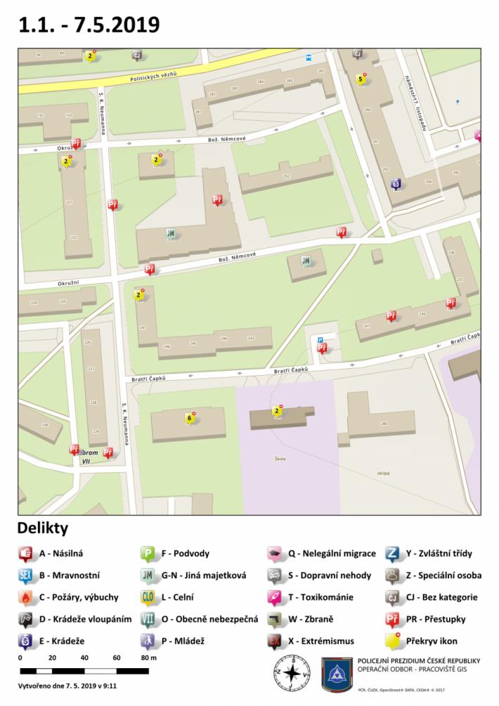 Mapa kriminality v dané oblasti
