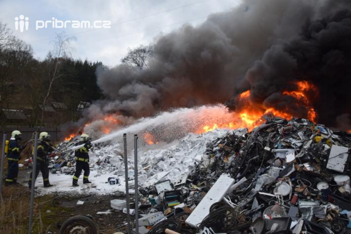První informaci o požáru v areálu kovošrotu v …