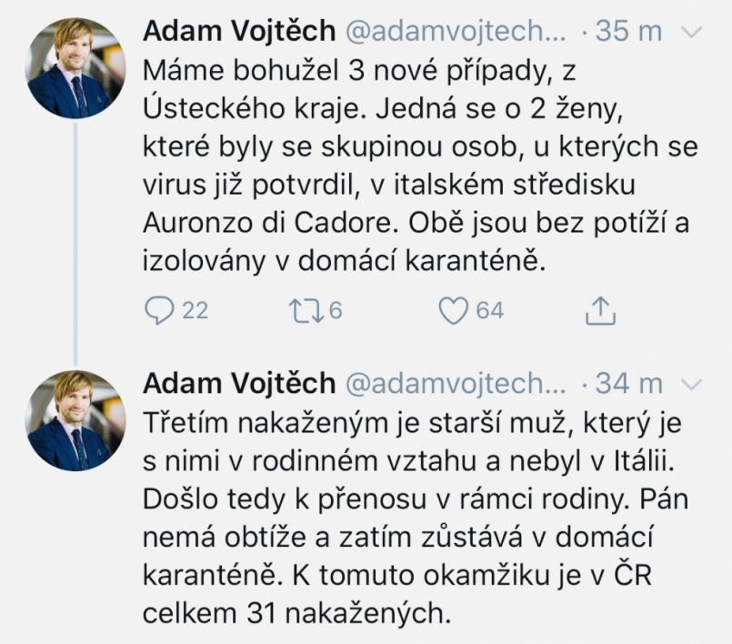 Nakažených novým typem koronaviru v Česku …