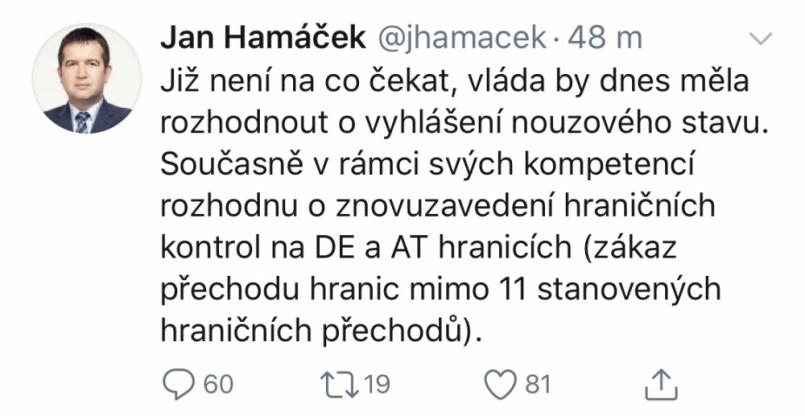 Ministr vnitra Jan Hamáček dnes navrhne …