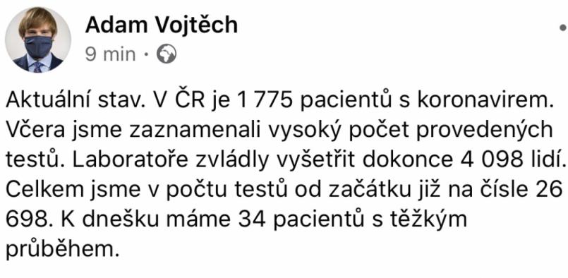 Ministr zdravotnictví Adam Vojtěch (za ANO) …