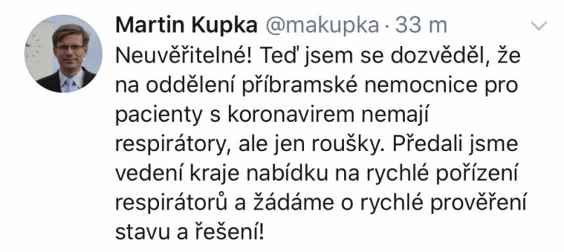Místopředseda ODS Martin Kupka dnes na …