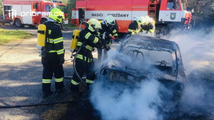 Hasiči zlikvidovali požár odstaveného vozidla