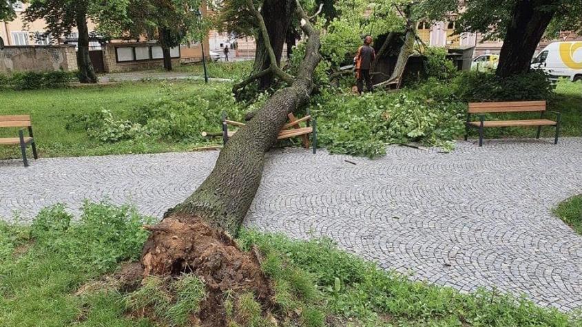 Příbramsko zasáhly silné bouřky, hasiči likvidovali hlavně popadané stromy