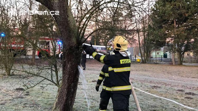 K hořícímu stromu právě teď vyjel HZS Příbram
