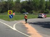 Aktuálně: Opatrně na sjezdu z dálnice, hasiči odstraňují následky nehody