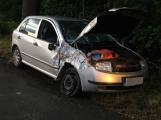 AKTUÁLNĚ: Namol opilý řidič zdemoloval auto o sloup. Když odcházel z místa nehody, vylekal dalšího řidiče, který narazil do stromu