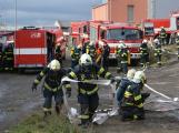 Složky IZS procvičovaly zásah u požáru s výskytem nebezpečné látky