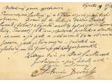 V příbramském archivu objevili vizitku Antonína Dvořáka s jeho rukopisem