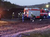 Tři hasičské jednotky likvidovaly požár kompostu