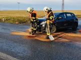 Řidič u Vranovic zdemoloval Kiu. Vyvázl bez zranění