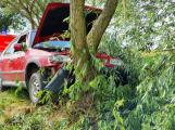 Žena se zákazem řízení ujížděla policejní hlídce. Neujela, nezvládla jízdu a narazila do stromu