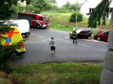 Tři vozy se srazily v Třebsku, jsou hlášena i zranění