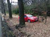 Toyota skončila po střetu se zvěří mimo silnici