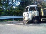 Požár nákladního vozu komplikoval dopravu z Prahy na Příbram